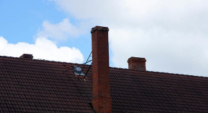 the roof and chimney with blue sky